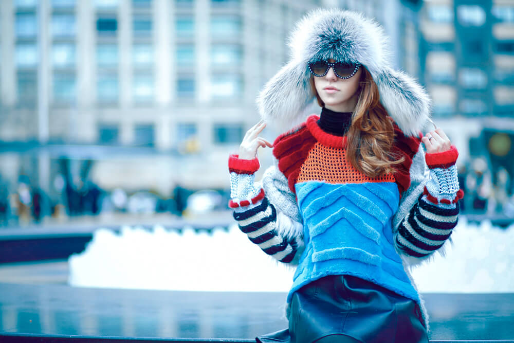 lady fur new york fashion week cappello volpe