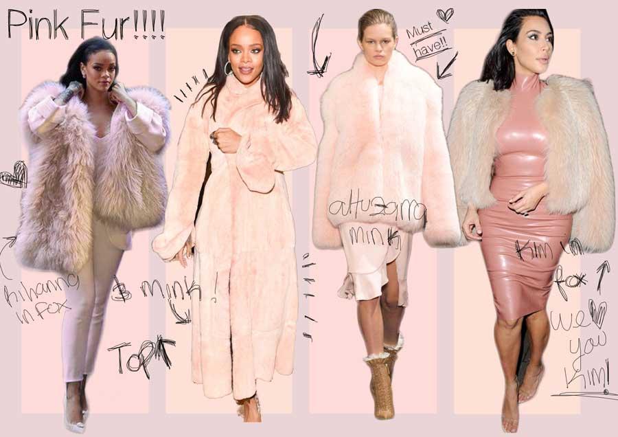 pelliccia rosa chiaro set