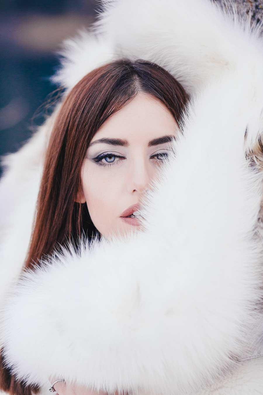 ritratto lady fur pelliccia bianca