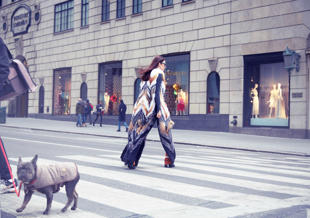 gilet di pelliccia lungo pelliccia di volpe lunga fino ai piedi