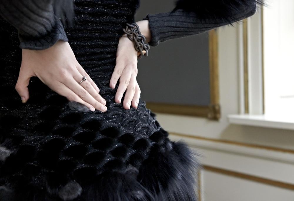 vestito con pelliccia kim felicia dettagli