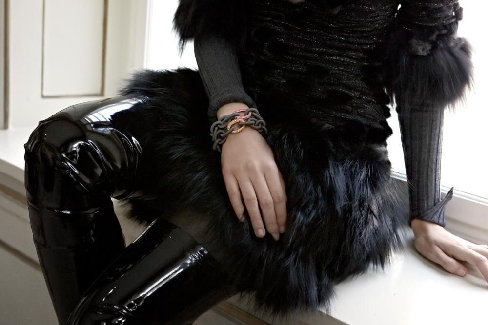 dettagli vestito con pelliccia kim felicia