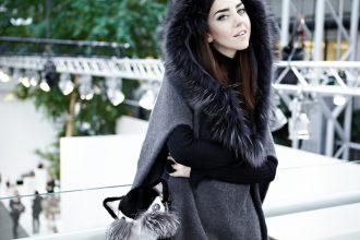 poncio con pelliccia foto lady fur