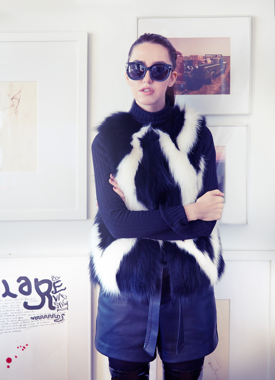 lady fur gilet di volpe