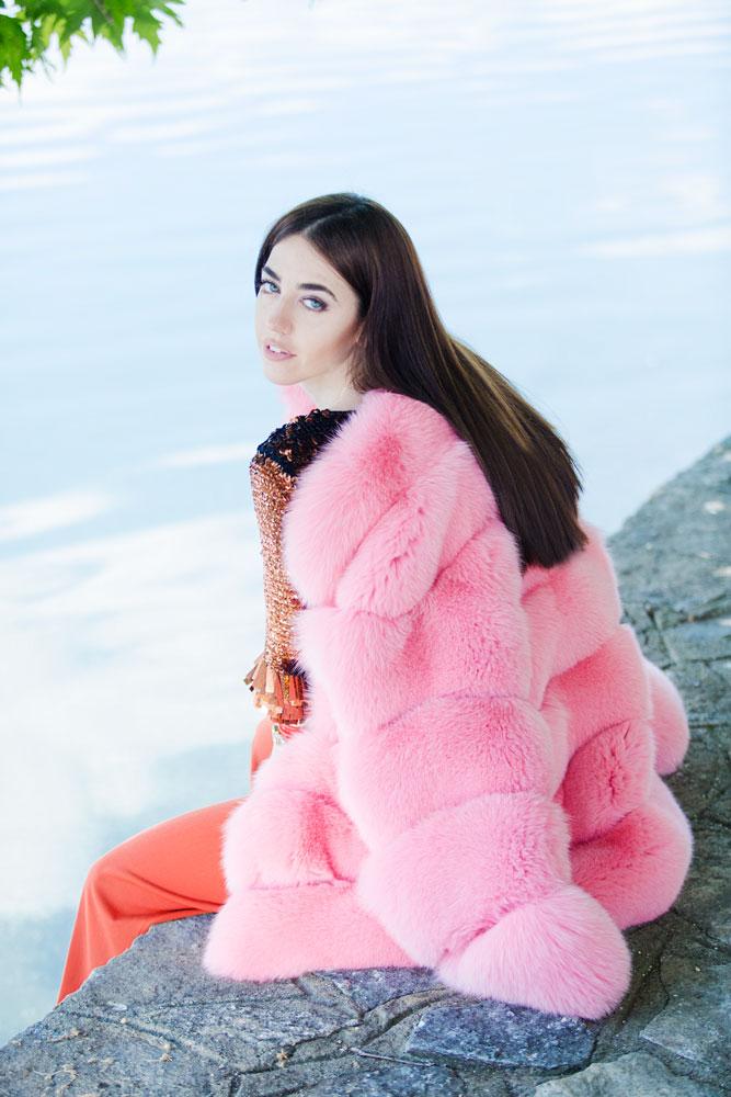 pelliccia rosa arancione lady fur kastoria