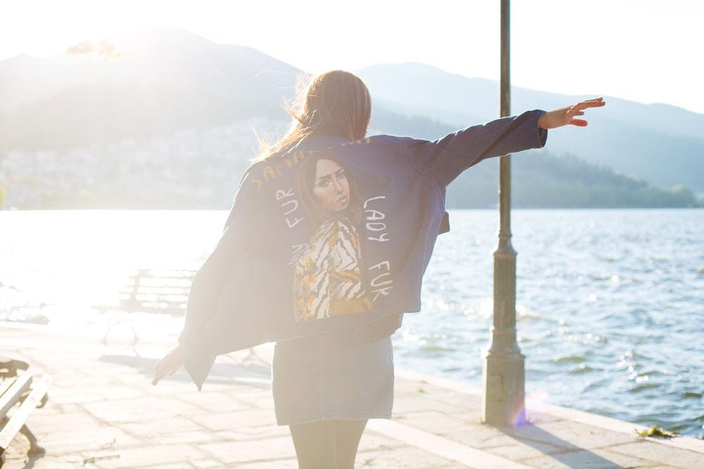 giacca di jeans con pelliccia lady fur