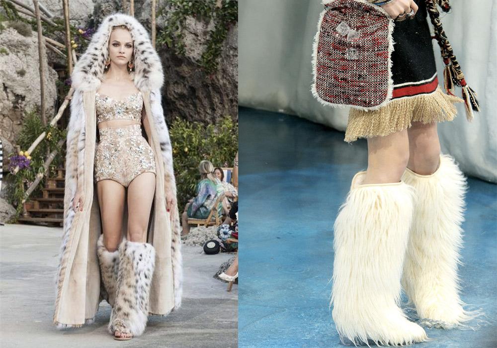 Stivali con pelliccia D&G e Chanel