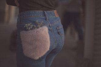 jeans con pelliccia