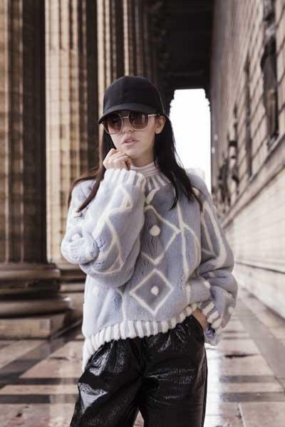 maglia pelliccia vera lady fur fur fab