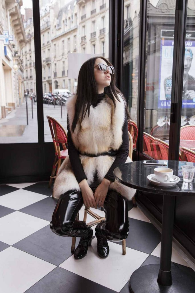 Gilet Volpe Bianca Samantha a Parigi