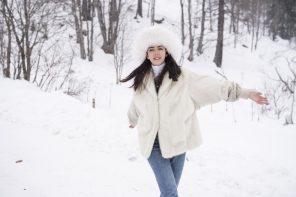 pelliccia bianca lady fur in montagna