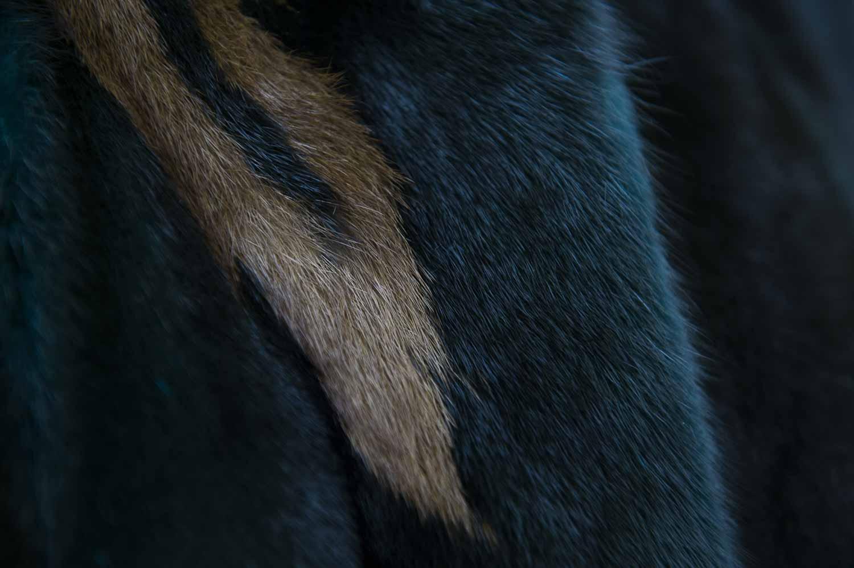intarsio di pelliccia di visone blu