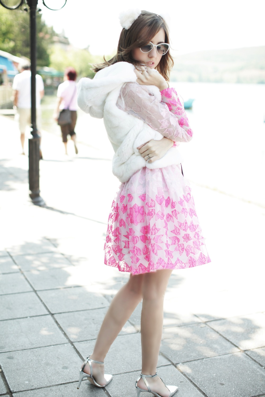 foto gilet di pelliccia bianco lapin