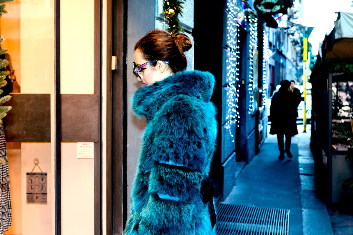 pelliccia di lince azzurra lady fur milano carlo ramello