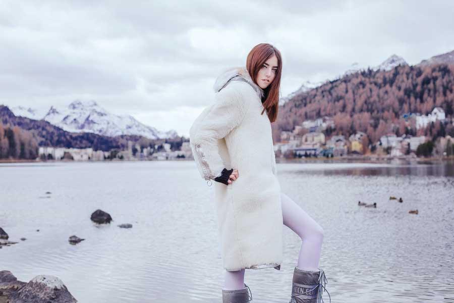 lady fur look da montagna pelliccia bianca
