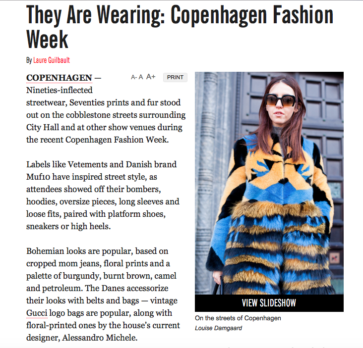 Lady Fur su WWD durante la Copenhagen Fashion Week