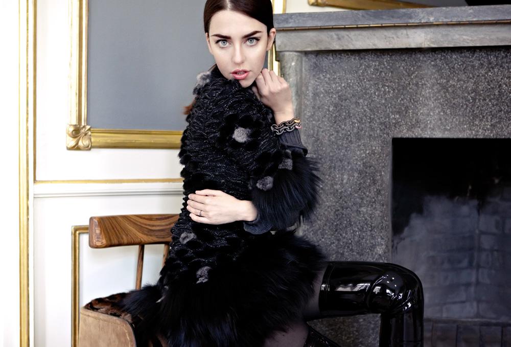 lady fur vestito con pelliccia