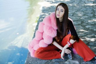 pelliccia rosa arancione