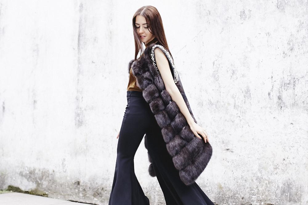 lady fur gilet con pelliccia zibellino e pitone