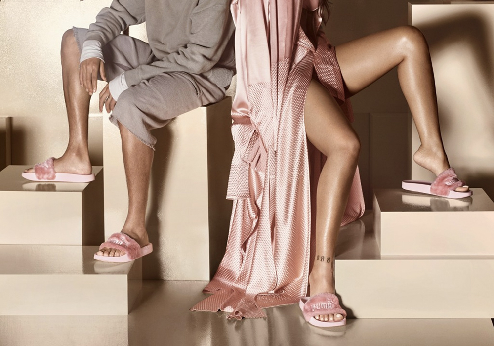 Rihanna sandali pelliccia Puma