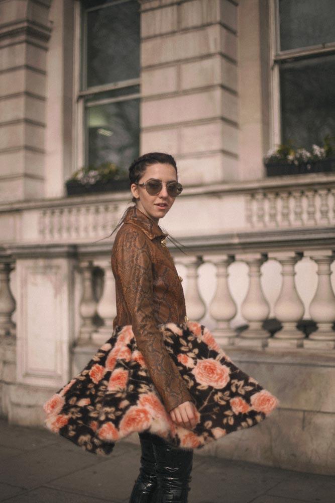 giacca di pitone lady fur londra