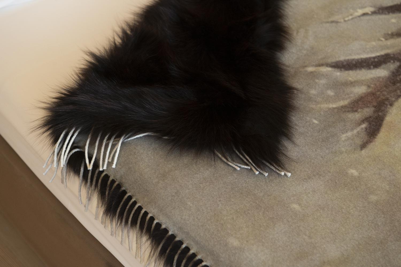 coperta pelliccia volpe e cashmere